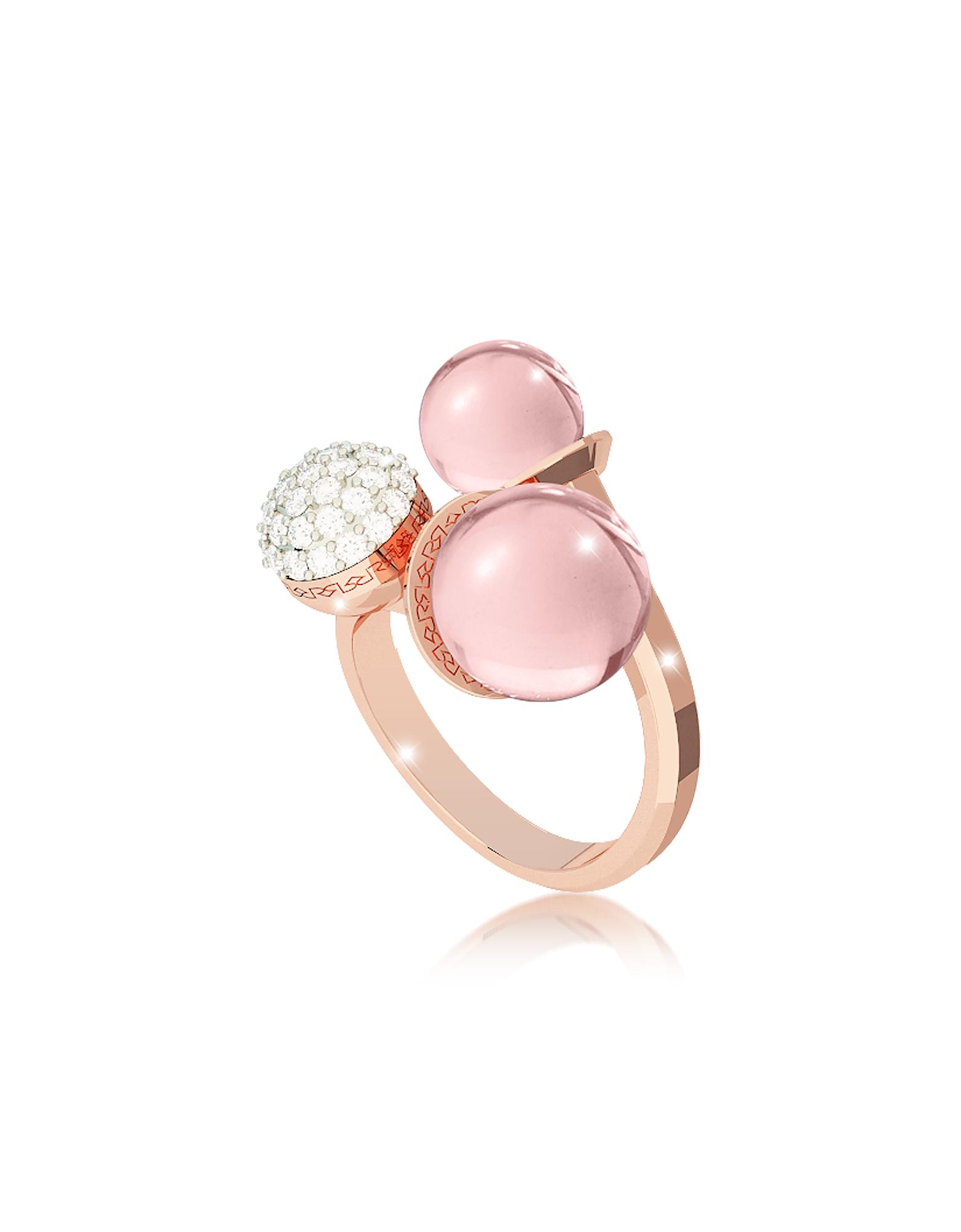 Boulevard Anello in Bronzo Oro Rosa, Cristalli e Perle Idrotermali Rosa Antico