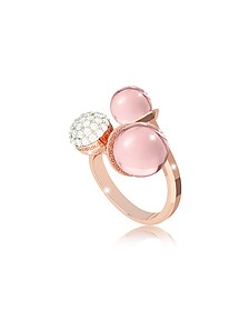 Boulevard Stone Rose Gold Over Bronze Ring w/ Hydrothermal Pink Stones and Cubic Zirconia - Rebecca