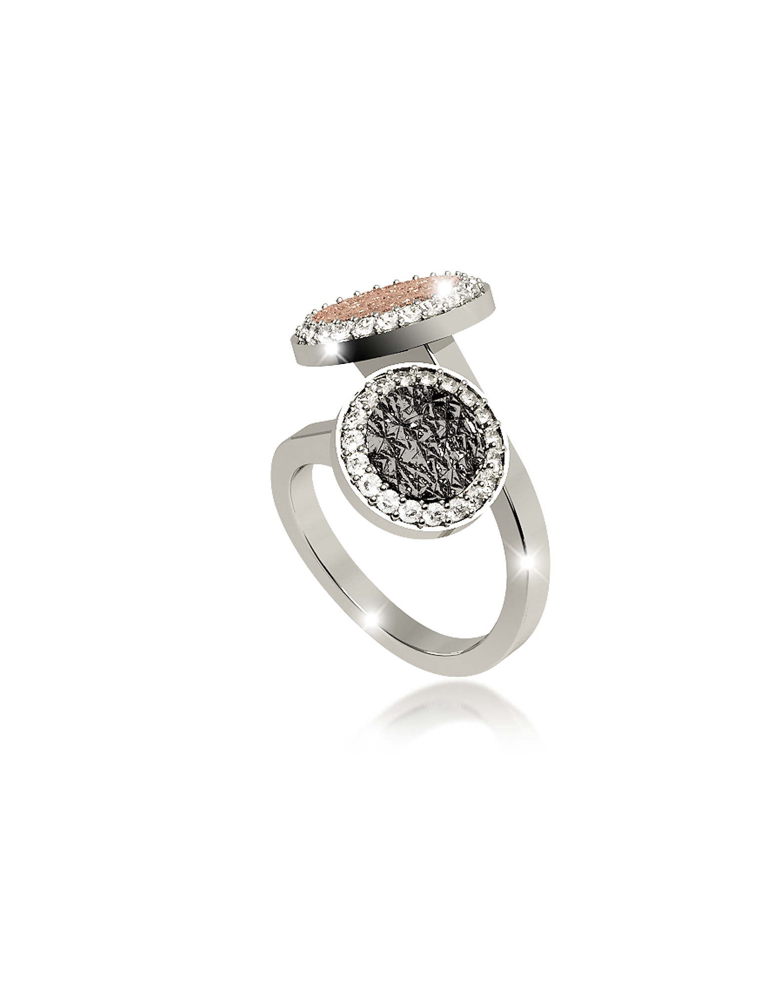 Rebecca Rings, R-Zero Rhodium Over Bronze Ring w/Two Tones Stones