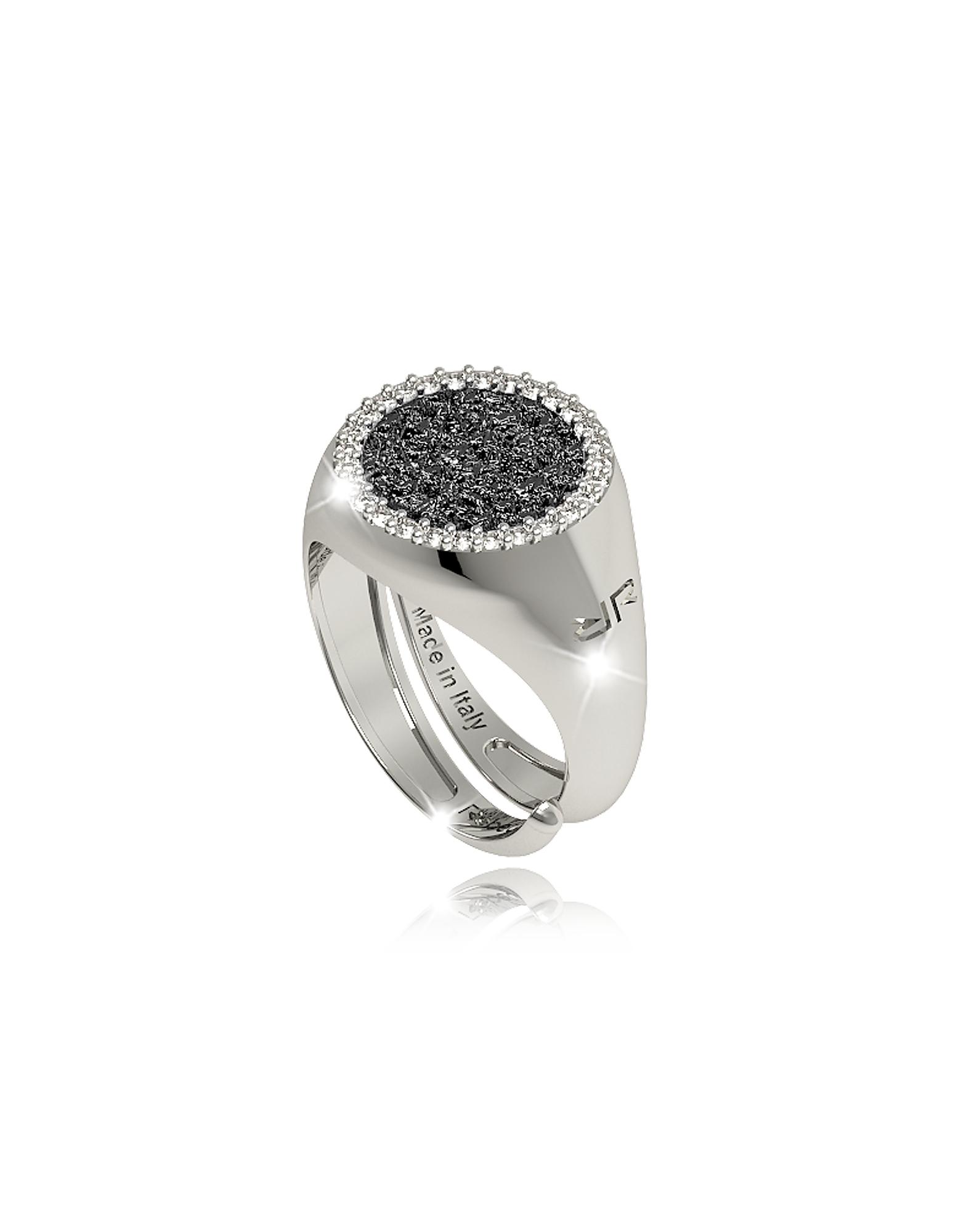 Rebecca Rings, R-Zero Rhodium Over Bronze Ring w/Stones