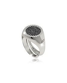 R-Zero Rhodium Over Bronze Ring w/Stones - Rebecca