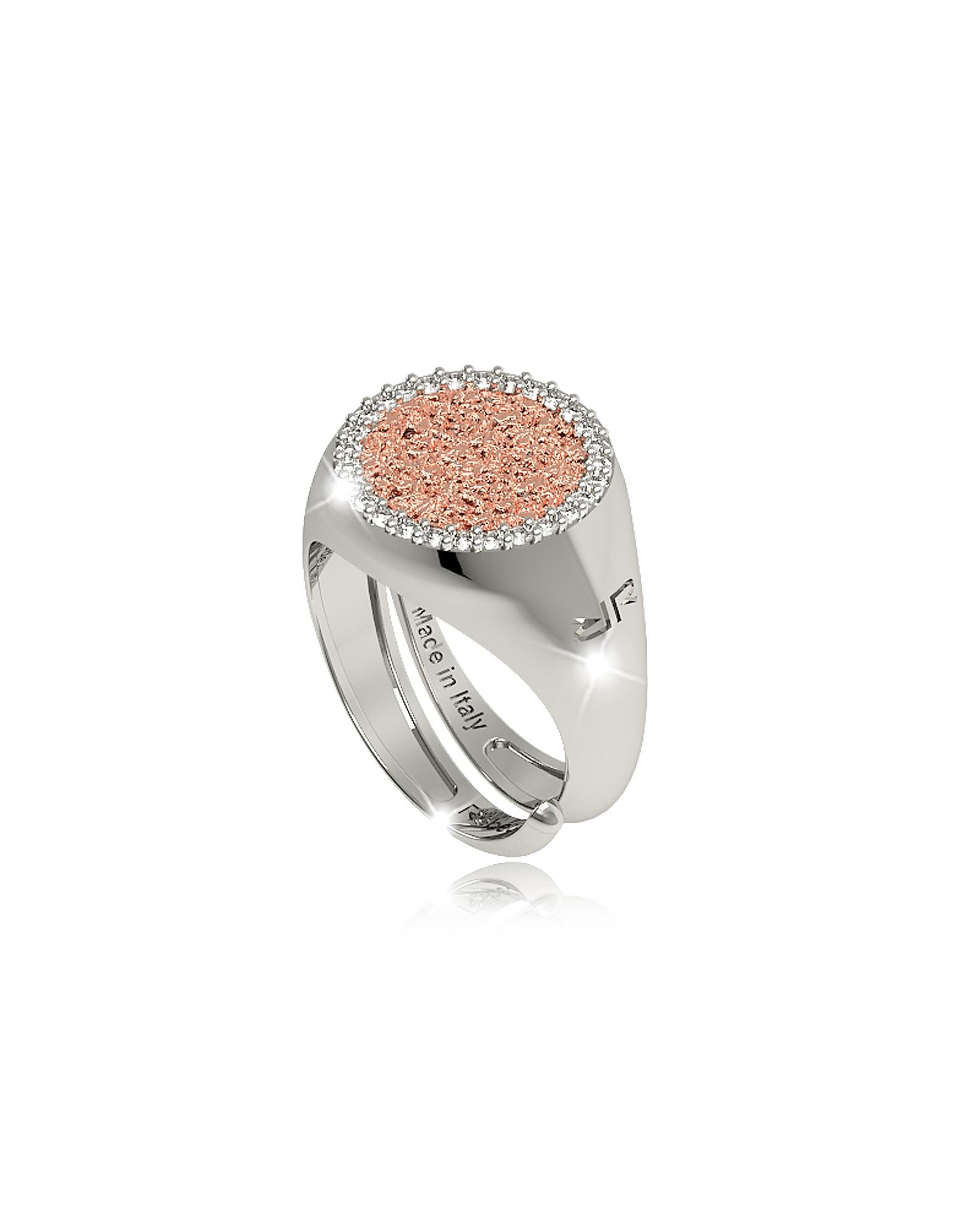 Фото R-Zero - Розовое Кольцо из Бронзы с Родиевым Покрытием и Камнями. Купить с доставкой