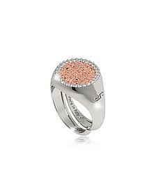 R-Zero Rhodium Over Bronze Rose Ring w/Stones - Rebecca