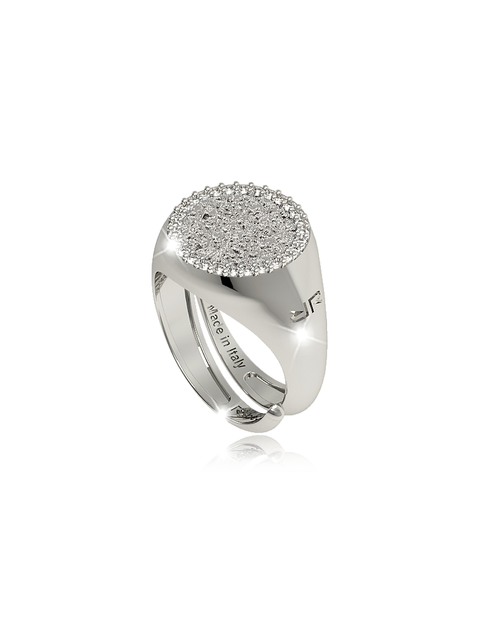 R-ZERO Rhodium Over Bronze Ring, Silver