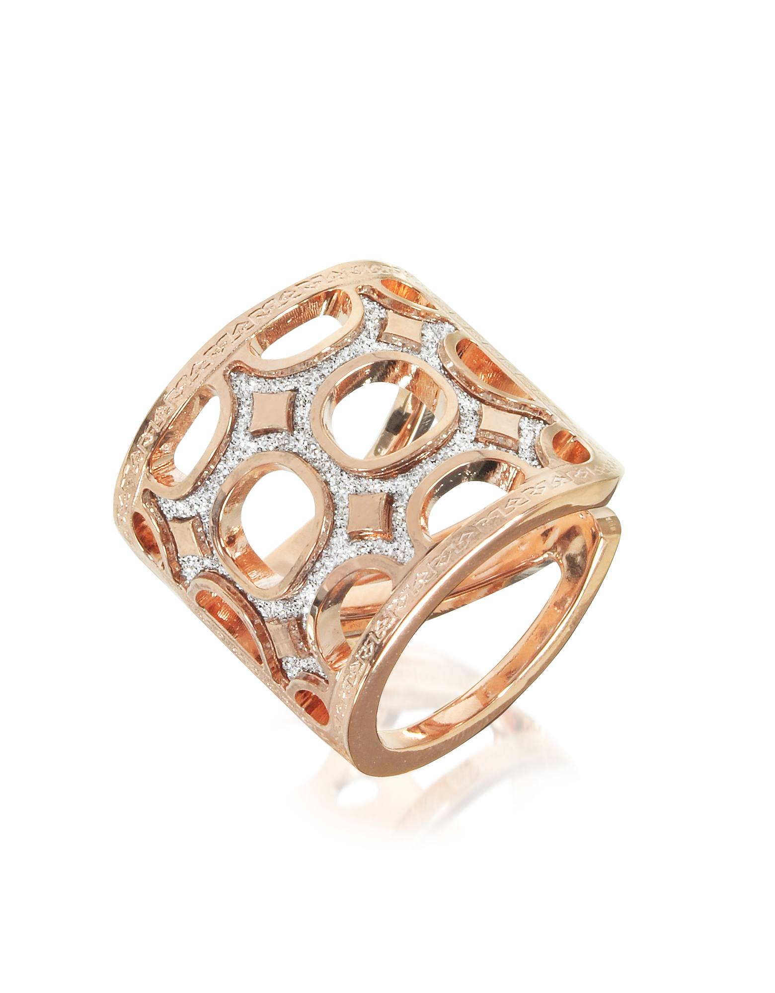 Seventies - Кольцо из Бронзы с Напылением Золота 18 карат и Блестками