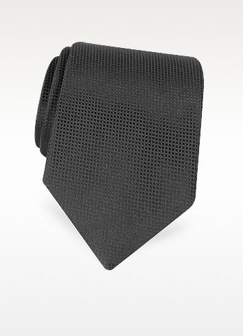 Solid Black Textured Silk Tie - Renato Balestra