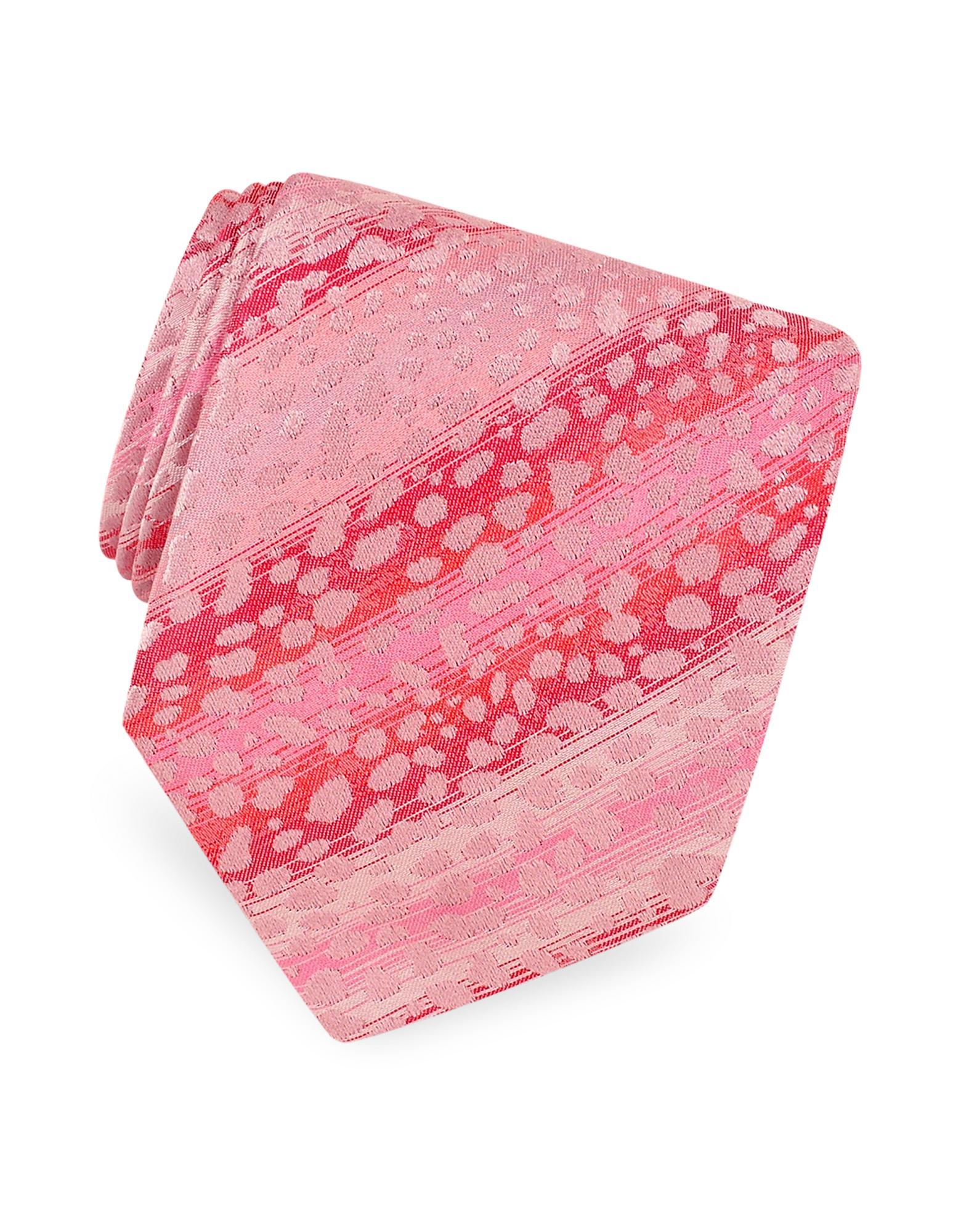 Roberto Cavalli  Pink Animal Pattern Woven Silk Tie