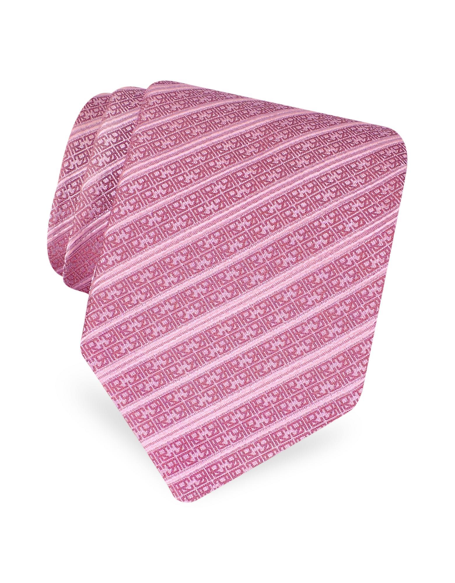 Roberto Cavalli Mauve Logo Stripe Woven Silk Tie