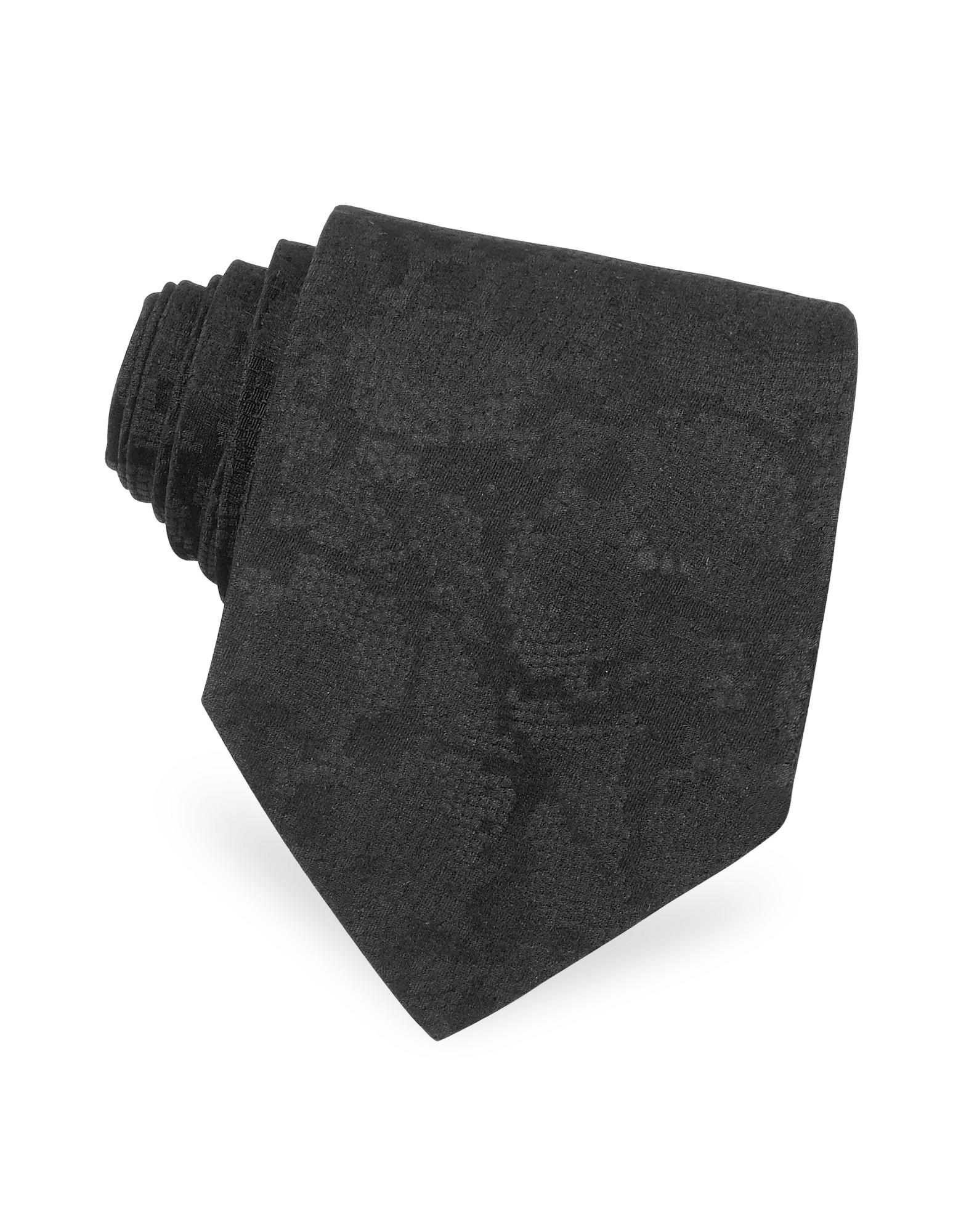 Roberto Cavalli Python Stamped Solid Narrow Silk Tie
