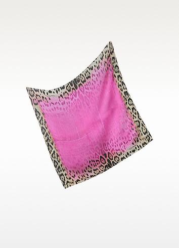 Pink Leopard Silk Square Scarf - Roberto Cavalli