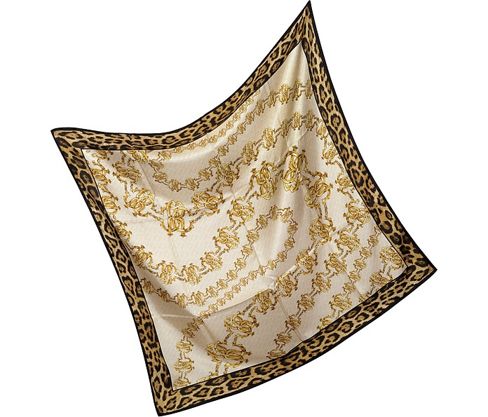 Signature Animal Print Silk Square Scarf - Roberto Cavalli