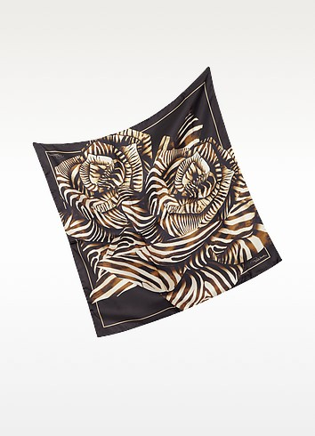 Animal Print Silk Square Scarf - Roberto Cavalli