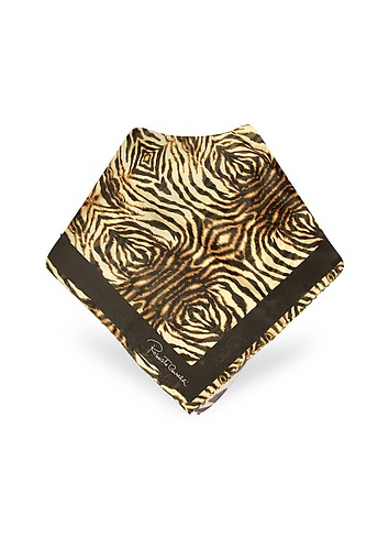 Roberto Cavalli Zebra Printed Chiffon Silk Signature Square Scarf