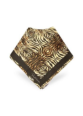 Roberto Cavalli Zebra Printed Chiffon Silk Signature Square Scarf :  stylish scarf women designer accessory