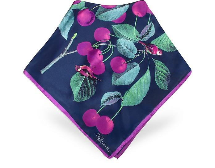Cherry Printed Silk Square Scarf - Roberto Cavalli