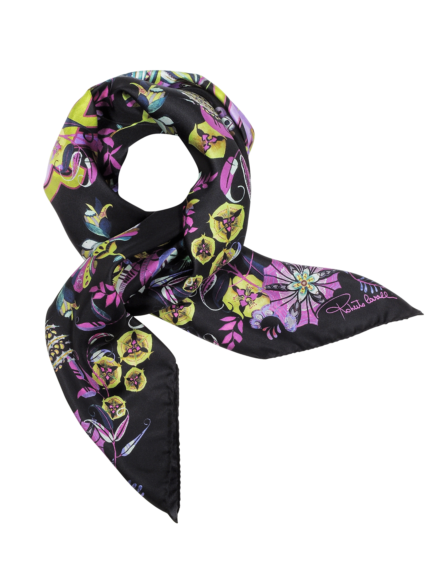 Signature Logo and Floral Print Silk Square Scarf