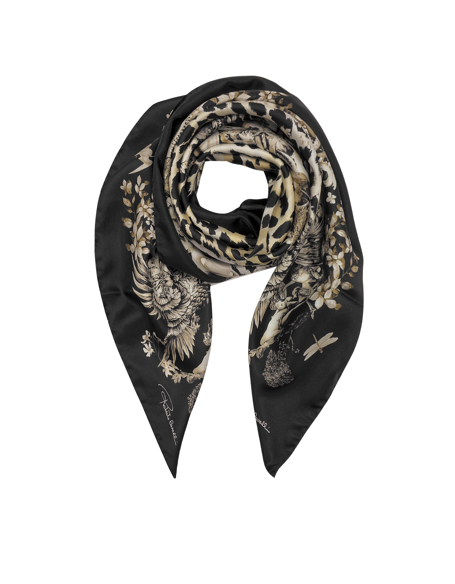Черная Шелковая Косынка с Телесным Принтом Природы и Леопардового Узора