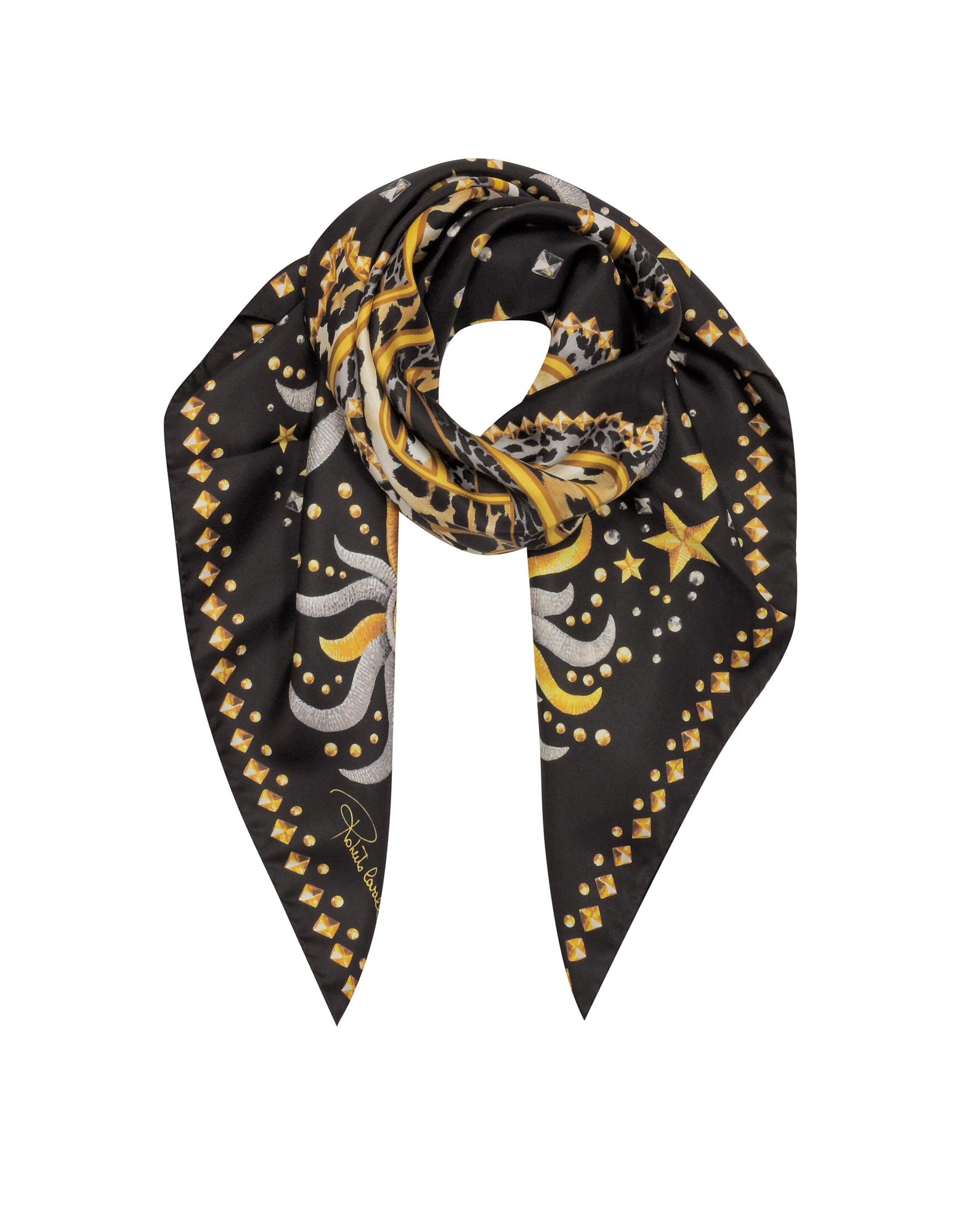 Шелковая Косынка с Принтом Символов и Логотипом