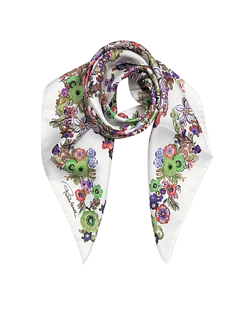 Roberto Cavalli - Pink Multi Peafowls and Flowers Print Silk Square Scarf