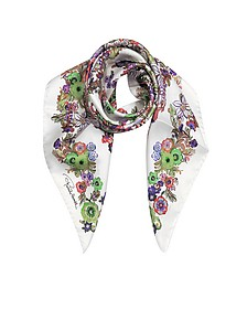Pink Multi Peafowls and Flowers Print Silk Square Scarf - Roberto Cavalli