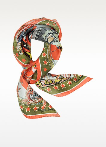 Circus and Star Print Silk Square Scarf - Roberto Cavalli