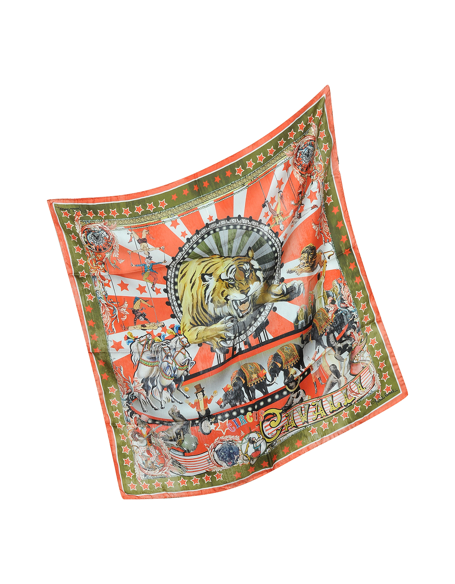 Circus and Star Print Silk Square Scarf от Forzieri.com INT