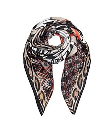 Circus and Animal Print Silk Square Scarf - Roberto Cavalli