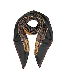 Animal and Jewelry Print Pure Silk Square Scarf - Roberto Cavalli