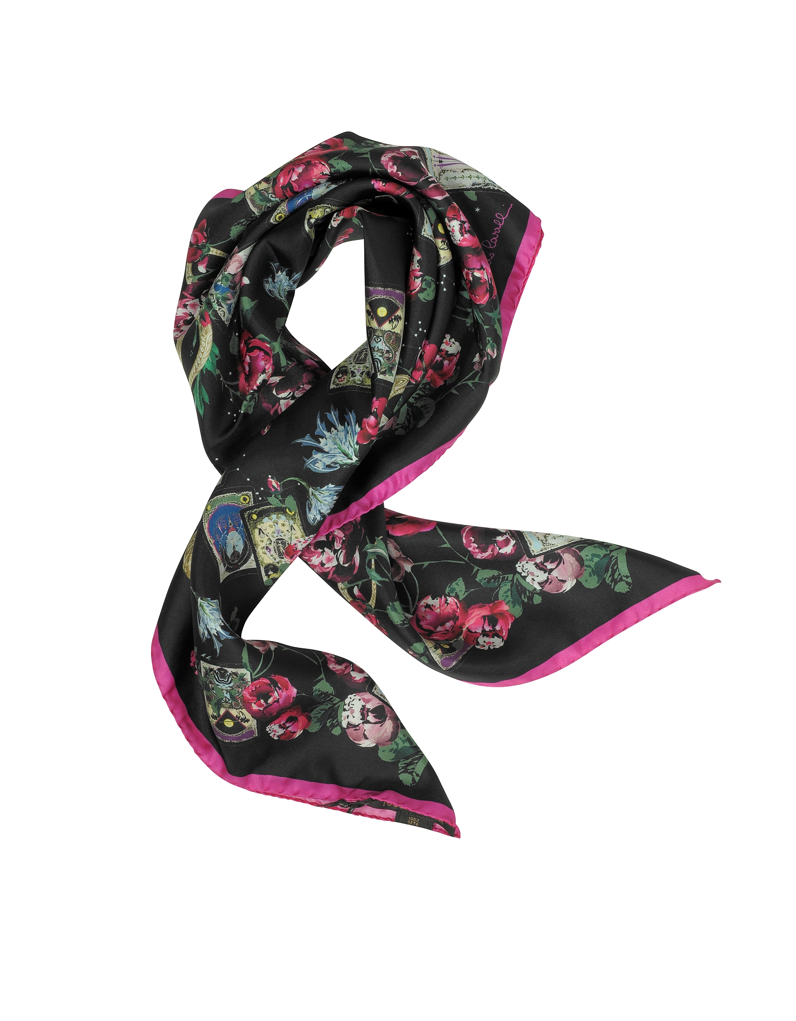 Floral Printed Silk Square Scarf
