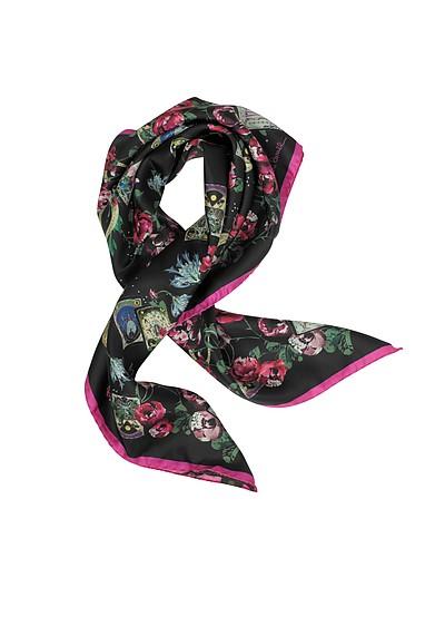 Floral Printed Silk Square Scarf - Roberto Cavalli