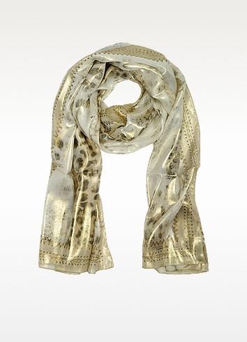 Metallic Animal Print Silk Long Scarf - Roberto Cavalli