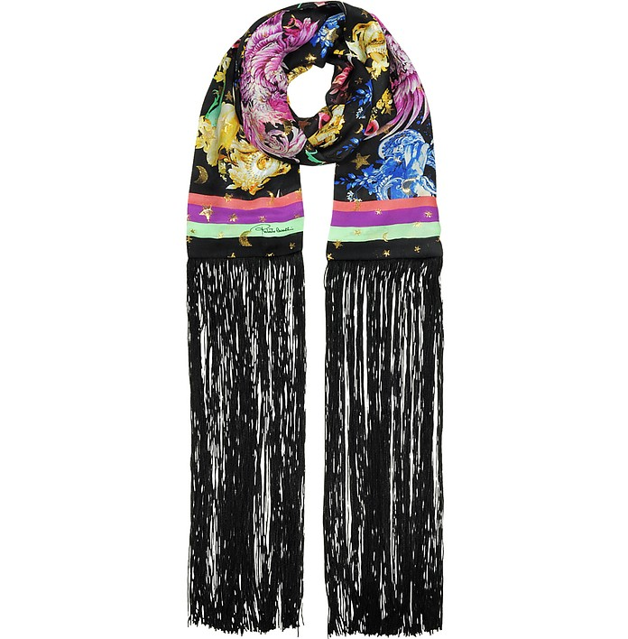 Black and Gold Pattern Printed Silk Long Scarf w/Fringes - Roberto Cavalli