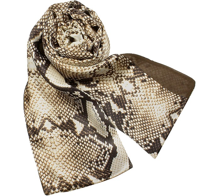 Snake Skin Printed Reversible Doubled Silk Stole - Roberto Cavalli