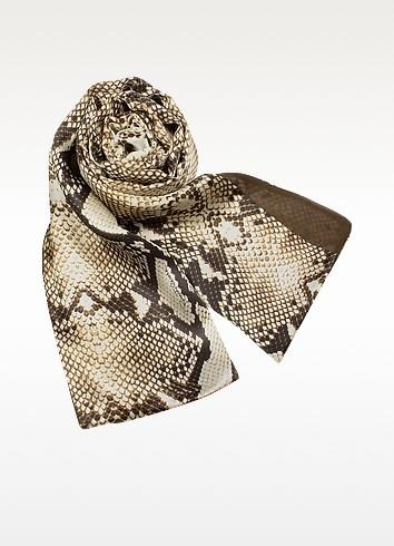 Snake Skin Printed Reversible Doubled Silk Stole - Roberto Cavalli
