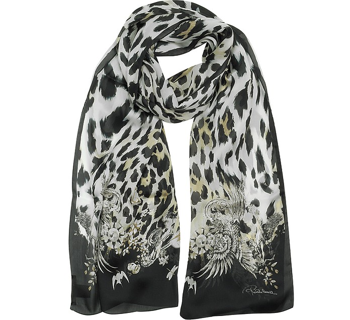 Natural Black Pattern and Leopard Print Silk Stole - Roberto Cavalli