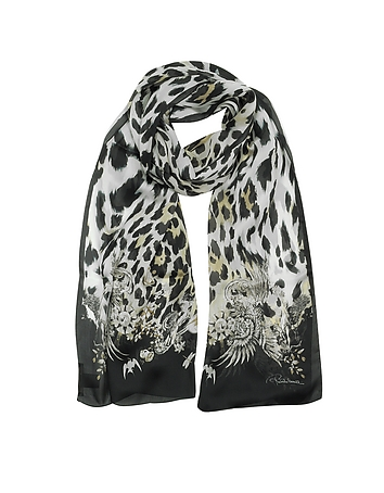 Roberto Cavalli - Natural Black Pattern and Leopard Print Silk Stole