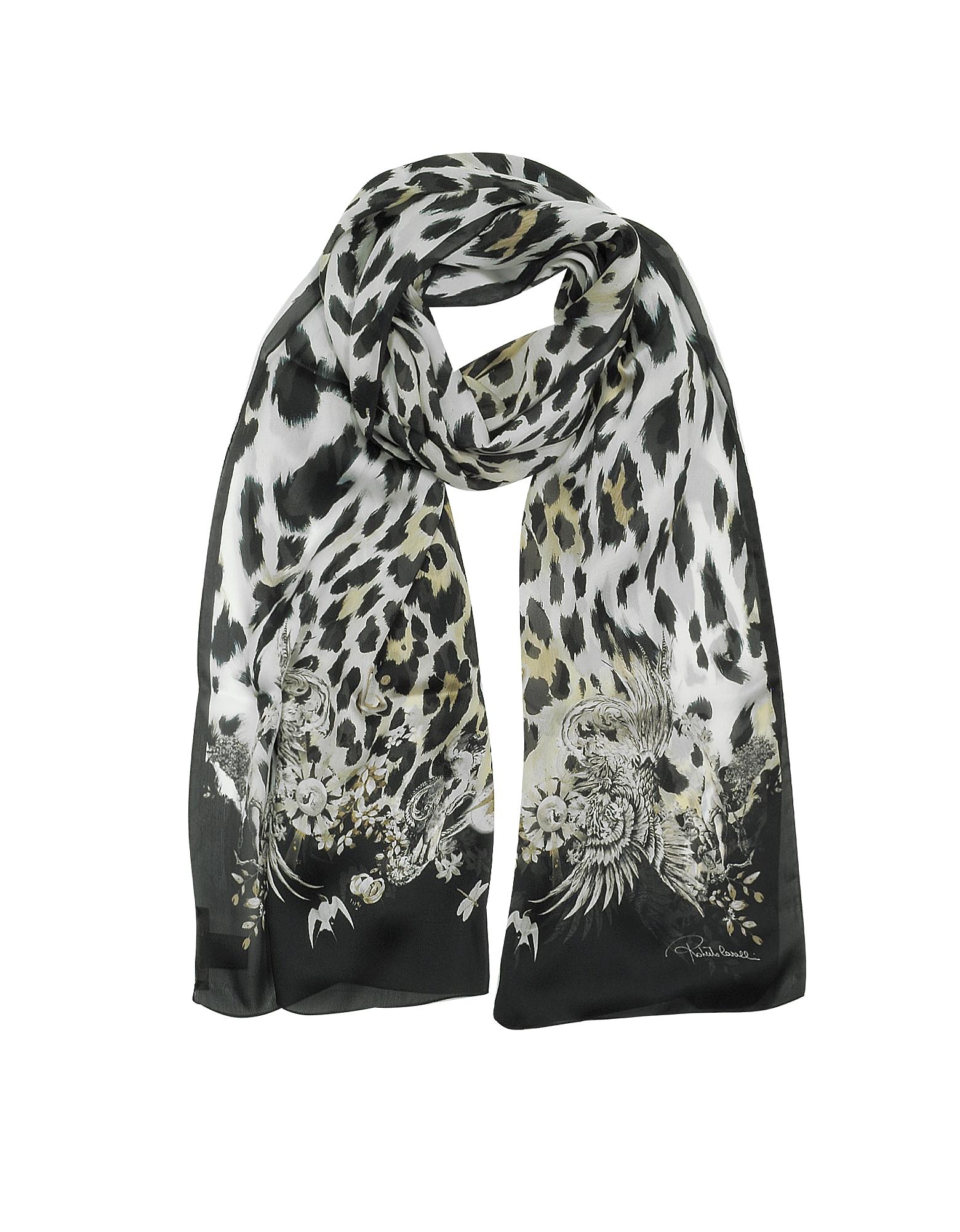Natural - Черный Шелковый Палантин с Узором и Леопардовым Принтом