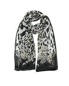Natural Black Pattern and Leopard Print Silk Stole - Roberto Cavalli