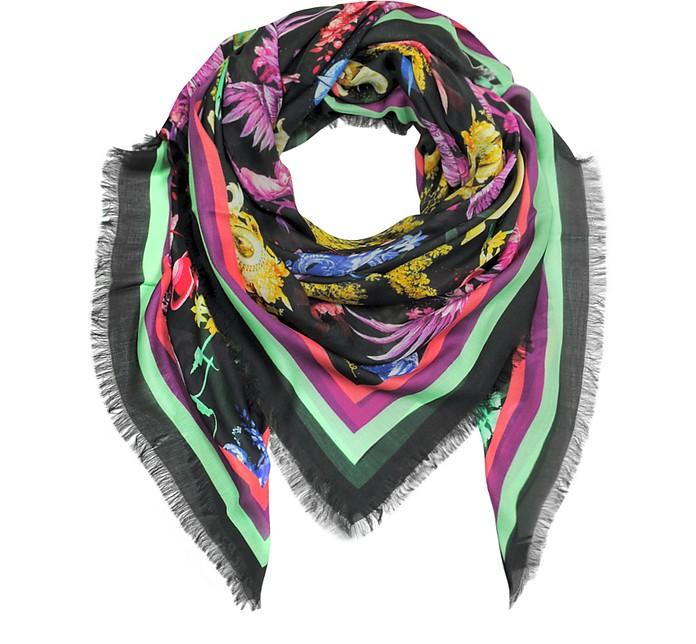 Black Pattern Printed Modal Wrap w/Fringes - Roberto Cavalli
