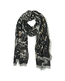 Coffee Brown Floral Printed Modal Shawl - Roberto Cavalli