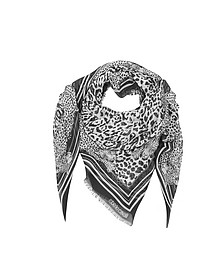 Black & White Animal Print Cotton Blend Shawl - Roberto Cavalli