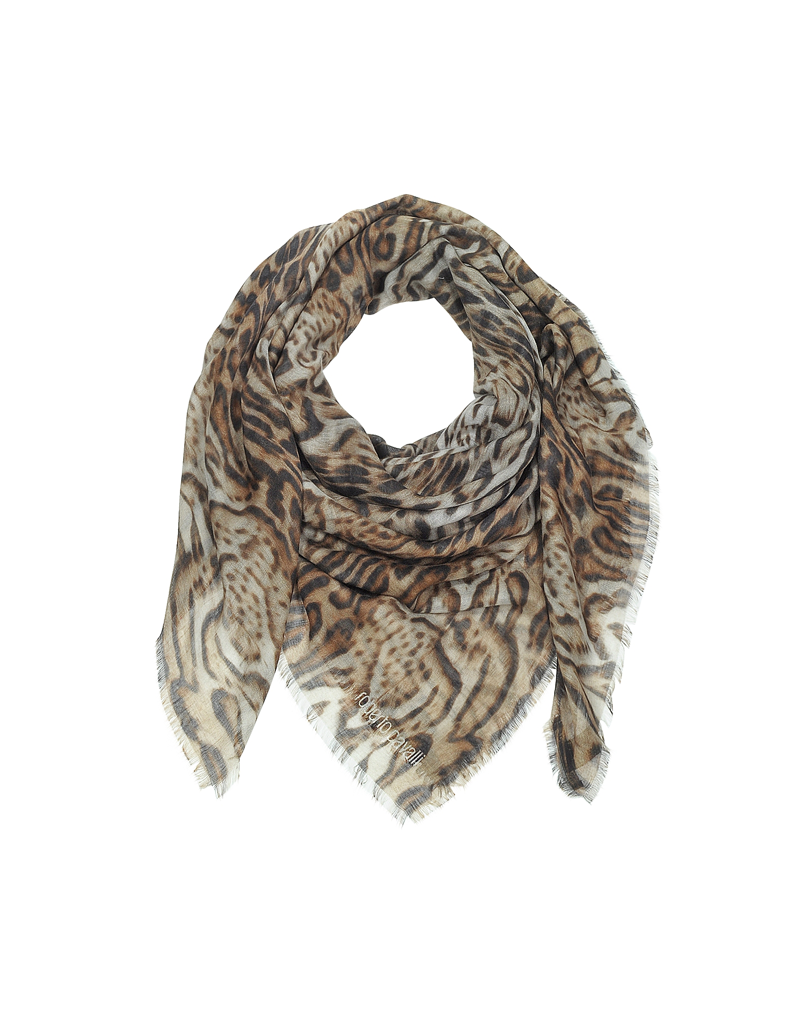 Brown Animal Print Cashmere and Silk Shawl от Forzieri.com INT