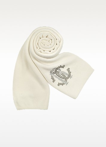 Jeweled Logo Knit Long Scarf - Roberto Cavalli