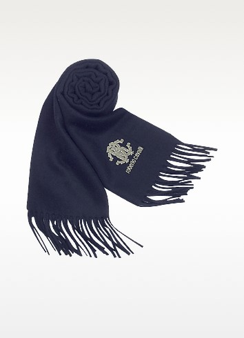 Silvered Logo Solid Wool Long Scarf - Roberto Cavalli
