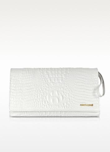 Graphic Caiman Leather Clutch - Roberto Cavalli