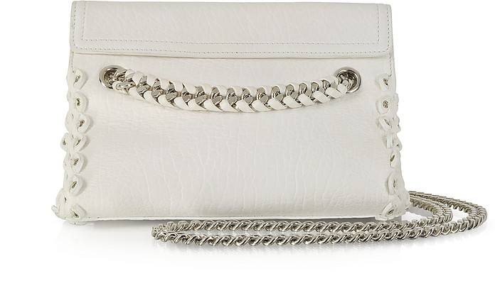 Optic White Leather Crossbody Bag w/Chain Strap and Eyelets - Roberto Cavalli