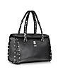 Small Black Leather Satchel w/Metal Detail - Roberto Cavalli