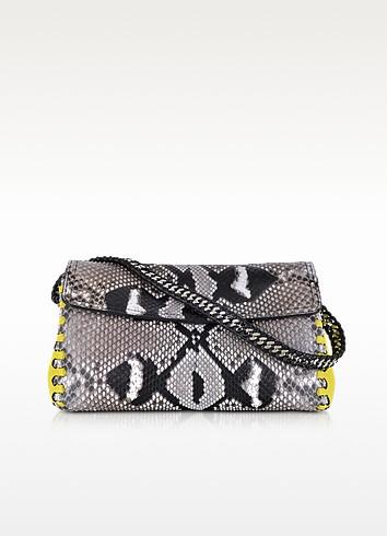 Python Leather Evening Clutch w/Shoulder Strap - Roberto Cavalli