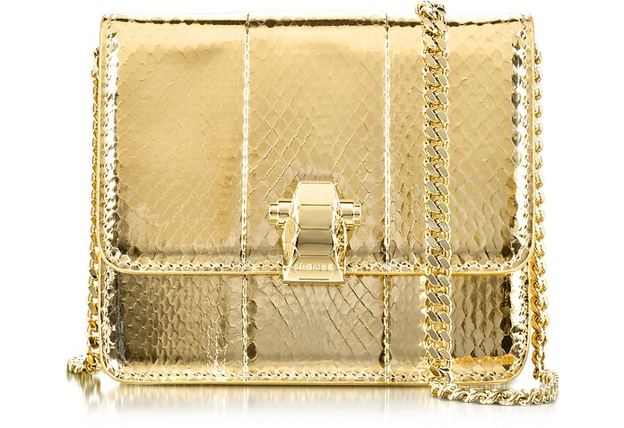 Flap Mini Mekong Metallic Ayers Leather Shoulder Bag - Roberto Cavalli