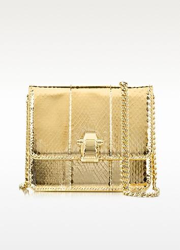 Roberto Cavalli Flap Mini Mekong Metallic Ayers Leather Shoulder Bag